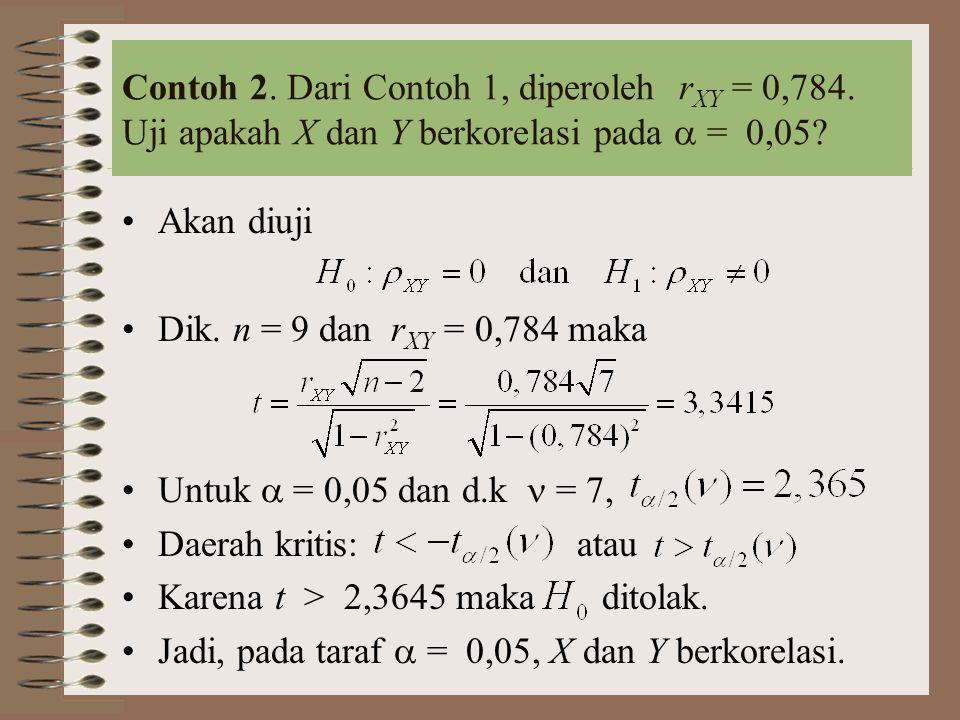 Cara lain: Pengujian hipotesis dengan nilai-p Hipotesis Untuk t = 3,3415 dan d.k = 7, diperoleh 0,01 < nilai-p < 0,05 Keputusan : ditolak secara signifikan.