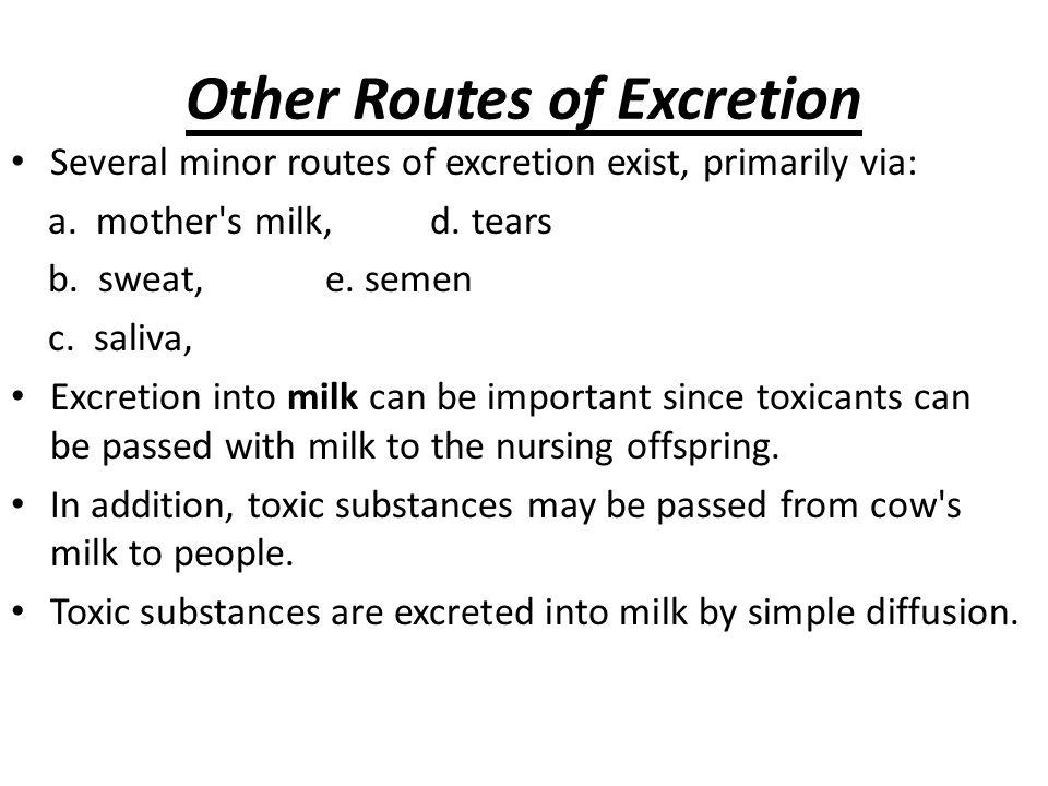 Bahan yang BASA & NON POLAR  dpt diekskresi lewat ASI Bahan BASA – mdh terkonsentrasi di air susu karena air susu > ASAM (pH ~ 6.5) dibanding plasma Karena SUSU mengandung 3-4% LEMAK  xenobiotik yg LARUT LEMAK --dapat terdifusi bersama lemak plasma  kelenjar mammae  ada pada ASI Bahan yg sifat kimianya mirip Calsium  dpt dekeluarkan lewat ASI bersama kalsium Contoh yg dpt keluarlewat ASI: - DDT, polybrominated biphenyls, & Pb (which follows calcium kinetics).