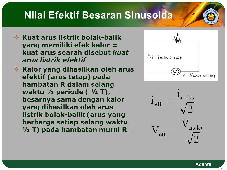 Adaptif Diagram Fasor  Diagram fasor adalah suatu diagram yang dipakai untuk mempermudah dalam menganalisis tegangan atau arus listrik bolak-balik  Fasor dibayangkan berputar dengan laju sudut tetap.
