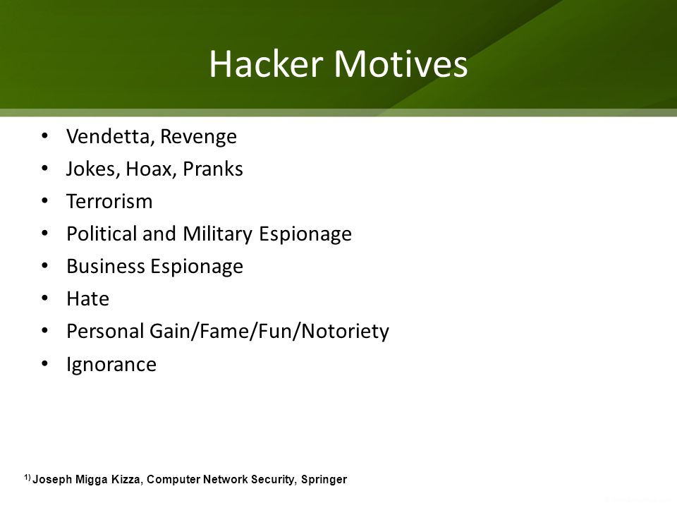 Attackers Topology One to one One to many Many to One Many to many 1) Joseph Migga Kizza, Computer Network Security, Springer