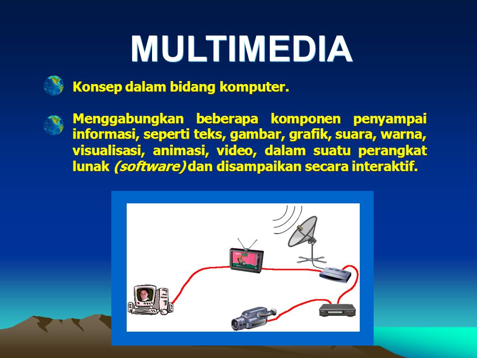 Konsep Multimedia Konsep Multimedia INTERAKTIF GRAFIK SUARA VIDEO ANIMASI TEKS MULTIMEDIA