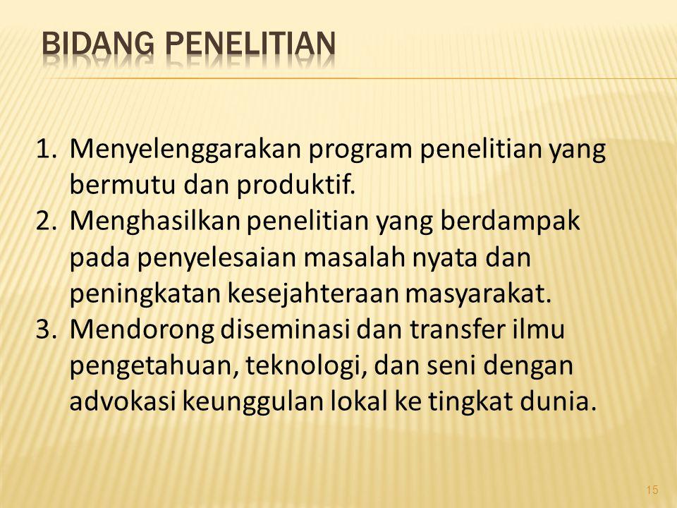 1.Menyelenggarakan program penelitian yang bermutu dan produktif.
