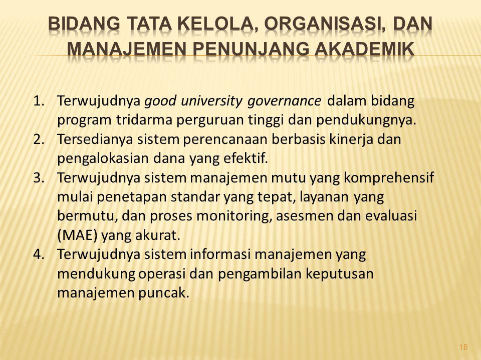 1.Terwujudnya good university governance dalam bidang program tridarma perguruan tinggi dan pendukungnya.
