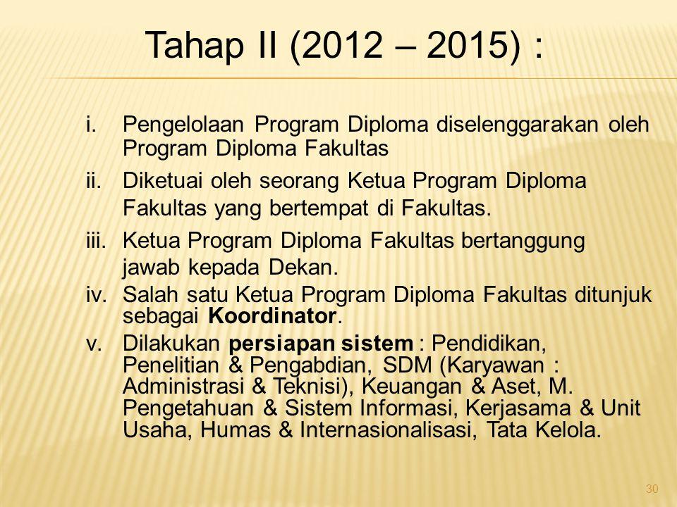 i.Pengelolaan Program Diploma diselenggarakan oleh Program Diploma Fakultas ii.Diketuai oleh seorang Ketua Program Diploma Fakultas yang bertempat di Fakultas.