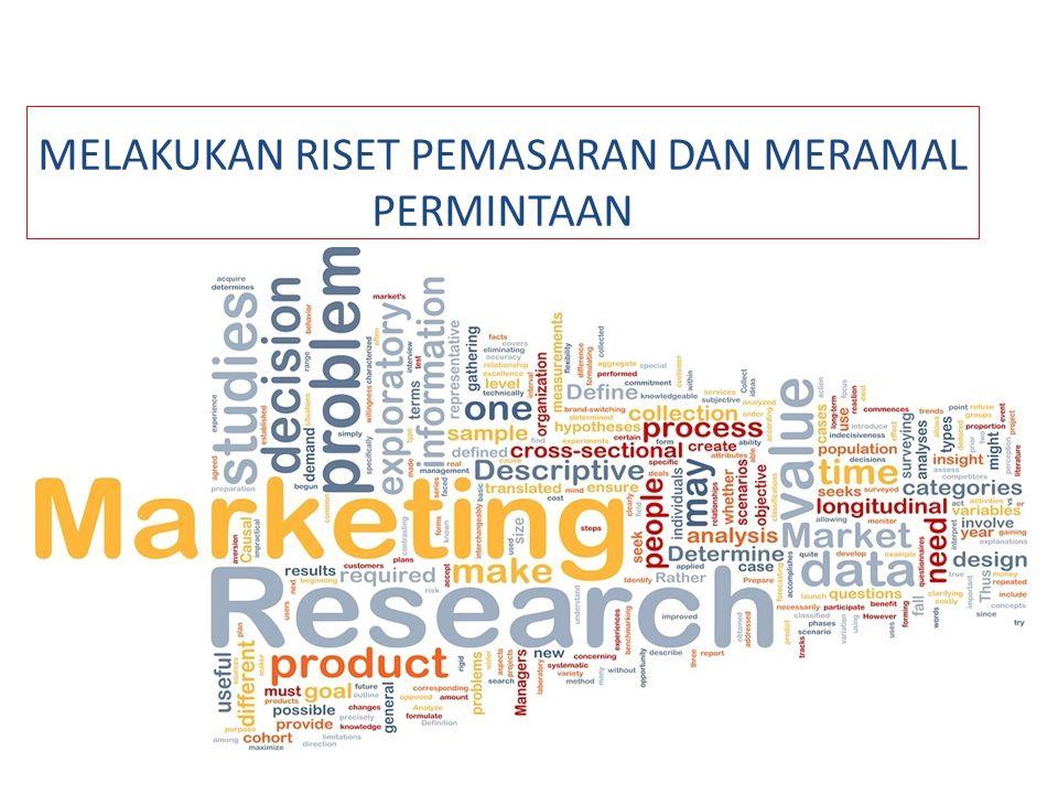  SISTEM RISET PEMASARAN Perusahaan2 riset pemasaran terbagi 3 kelompok : 1.Perusahaan riset pemasaran jasa-sindikasi 2.Perusahaan riset pemasaran sesuai pemesanan 3.Perusahaan riset pemasaran lini- terspesialisasi