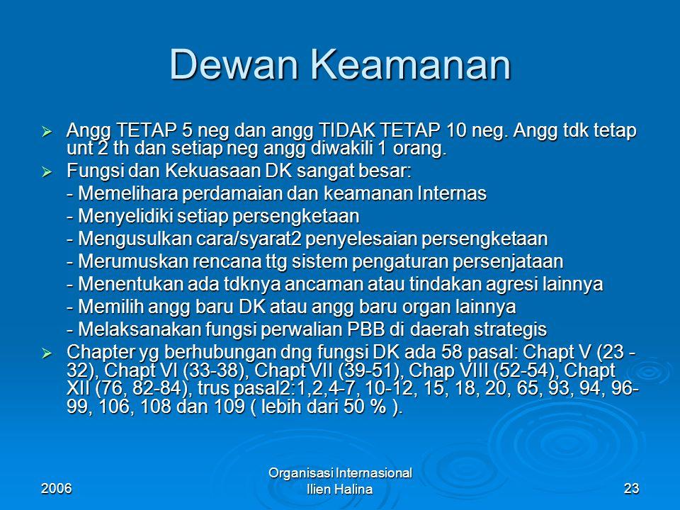2006 Organisasi Internasional Ilien Halina24 Anggota Tidak Tetap DK  Pd awal pendiriannya hanya 11 neg ( 21,6% dr 51 neg angg) dan th 1963 ditambah menjadi 15 neg ( 13,35 % dr 113 neg ) Sekarang hanya kurang dari 8 % dr 192 neg.
