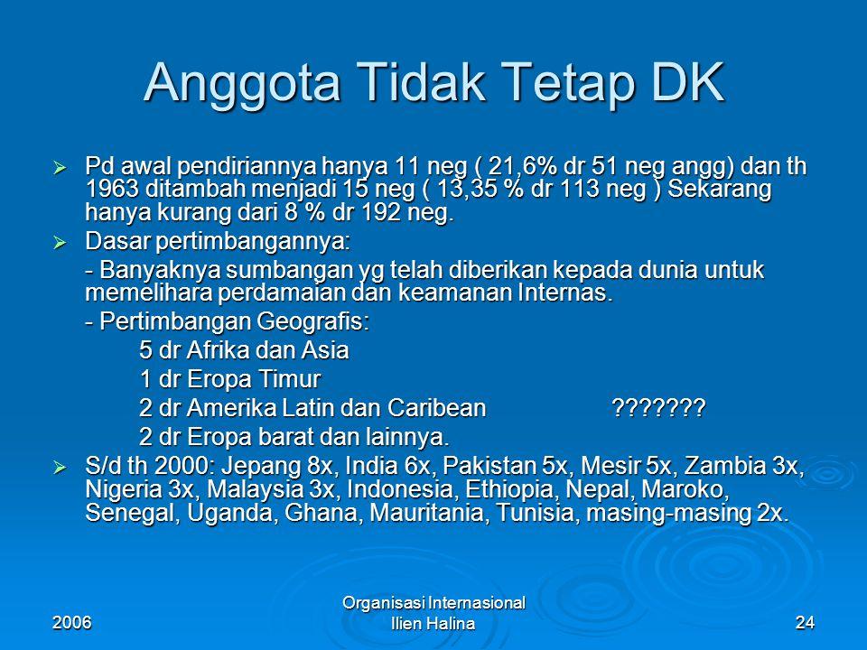2006 Organisasi Internasional Ilien Halina25 Organisasi & Prosedur DK  Susunan org DK tdk sebesar MU dng jumlah angg yg terbatas agar DK dpt bersidang sewaktu2 diperlukan.