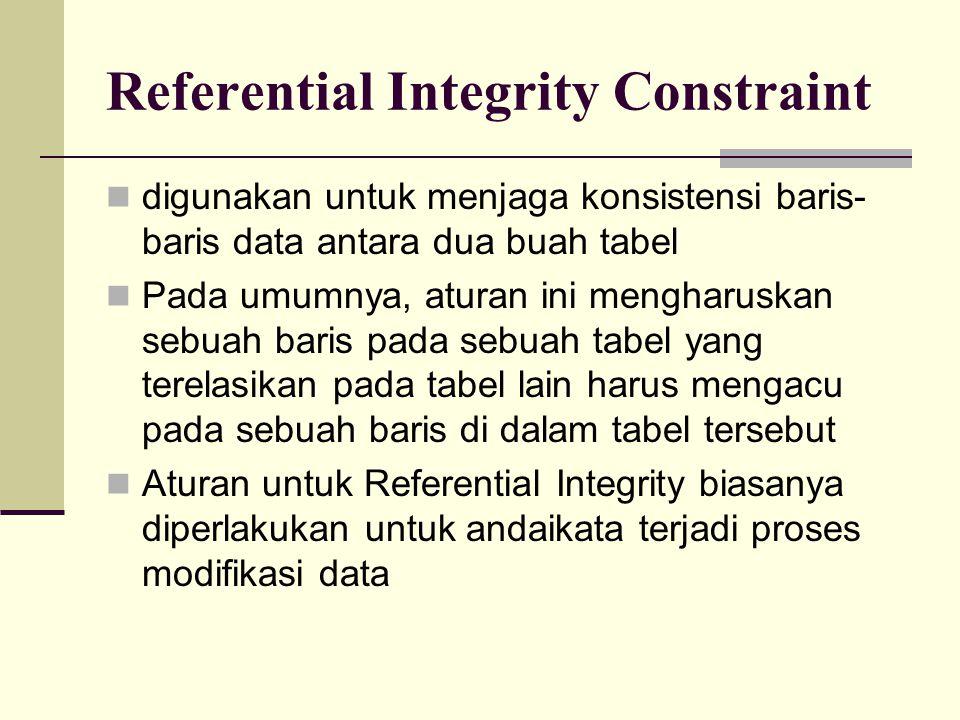 Referential Integrity Constraint Aturan untuk Update  berlaku pada proses modifikasi di parent table Cascade  Pembaruan sebuah baris data diikuti dengan pembaruan baris data pada child table yang terelasikan.