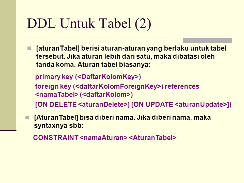 DDL Untuk Tabel (2) Contoh Pembuatan tabel Mahasiswa dan set nrp menjadi primary key, nilai default pada jeniskel= L , nipdosen mereferensi ke tabel dosen field nip