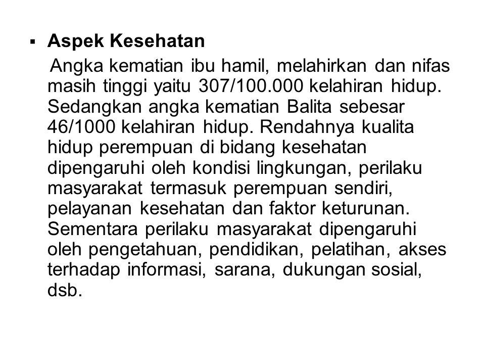 Aspek Ekonomi Banyaknya perempuan Indonesia yang bekerja sebagai TKW (pembantu rumah tangga), prostitusi dan traffiking menunjukkan permasalahan perempuan dibidang ekonomi tidak terlepas dari kemiskinan.