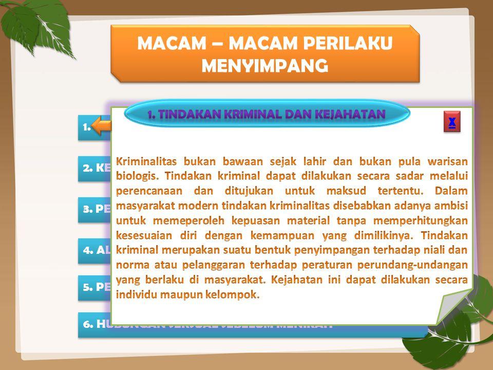 MACAM – MACAM PERILAKU MENYIMPANG 1.TINDAKAN KRIMINAL DAN KEJAHATAN 2.
