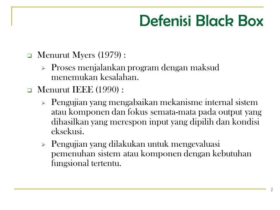 Defenisi...3  Digunakan untuk menguji fungsi-fungsi khusus dari PL yang dirancang.