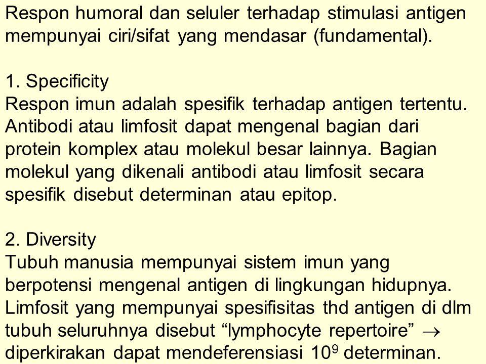 Bila suatu limfosit terinduksi antigen  limfosit akan berproliferasi membentuk satu klon spesifik  clonal selection theory .