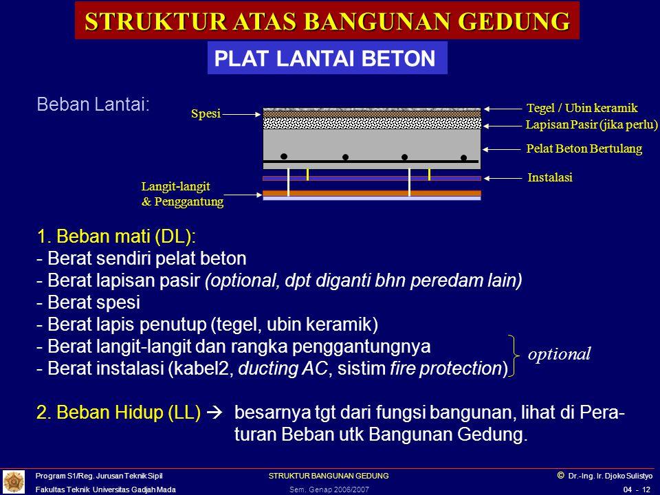 STRUKTUR ATAS BANGUNAN GEDUNG PLAT LANTAI BETON Plat lantai beton harus dibuat dg mengikuti ketentuan2 dalam standard/ peraturan struktur beton (SNI 03-2847-2002; ACI 318-2002 etc.), a.l.: - tebal plat lantai minimum 12 cm (plat atap min.