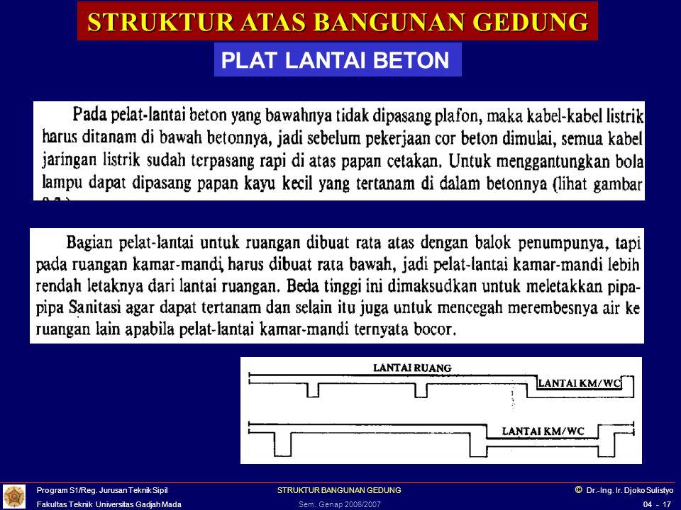 STRUKTUR ATAS BANGUNAN GEDUNG PLAT LANTAI BETON Balok Induk Balok Anak Gbr.