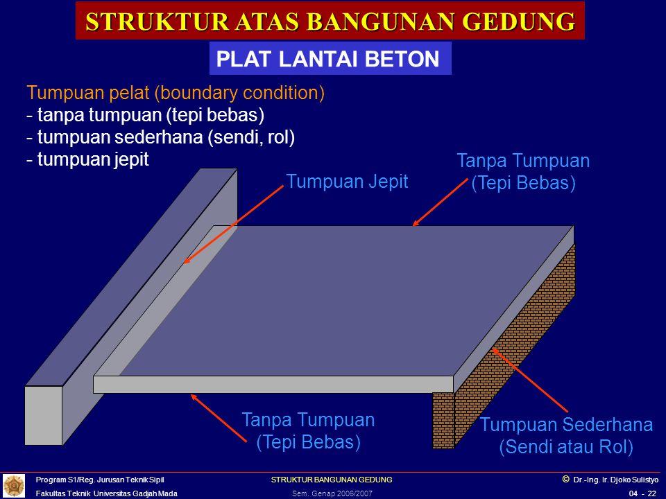 STRUKTUR ATAS BANGUNAN GEDUNG PLAT LANTAI BETON Plat lantai beton di atas balok/rangka baja Program S1/Reg.