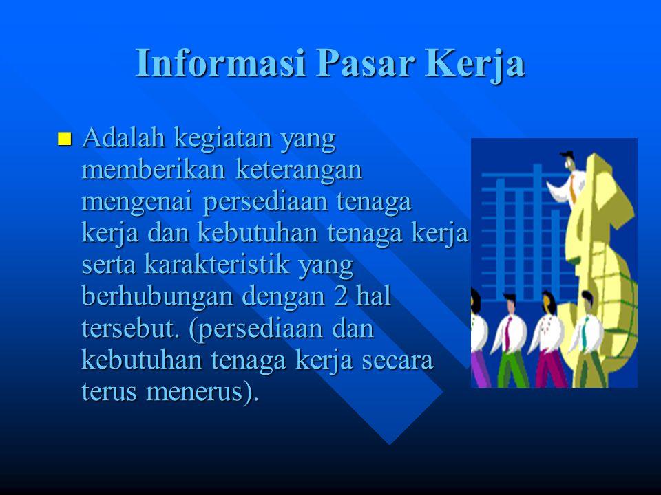 Bentuk Informasi Pasar Kerja Melalui radio, TV, mas media; misal koran sabtu minggu, majalah, koneksi (saudara, teman),tempat PSG, iklan.