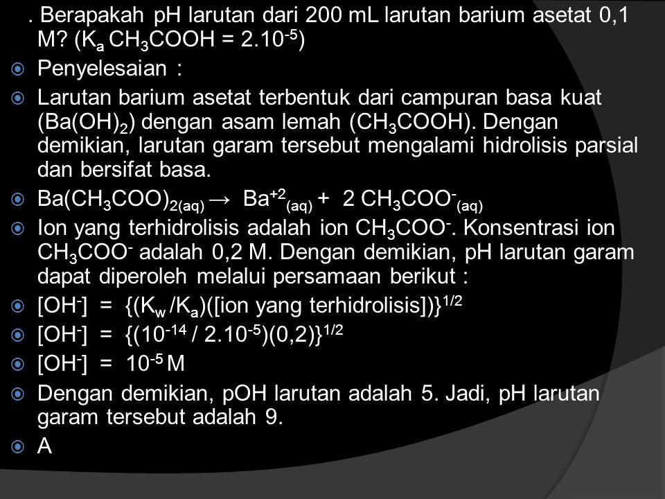 Berapakah pH larutan dari 100 mL larutan natrium sianida 0,01 M.