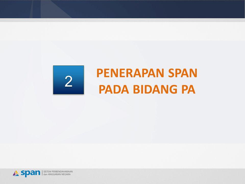 Secara umum, tupoksi Bidang Pelaksanaan Anggaran Kanwil DJPB tidak mengalami perubahan sebelum dan sesudah SPAN yaitu melaksanakan fungsi sebagai berikut : 1.Melakukan Penelaahan dan Pengesahan DIPA Awal; 2.Melakukan Penelaahan dan Pengesahan DIPA Revisi Modul SPAN yang terkait untuk proses Bisnis pada Bidang PA Kanwil DJPB adalah Modul Manajemen DIPA (MOSA) Manajemen DIPA pada Bidang PA