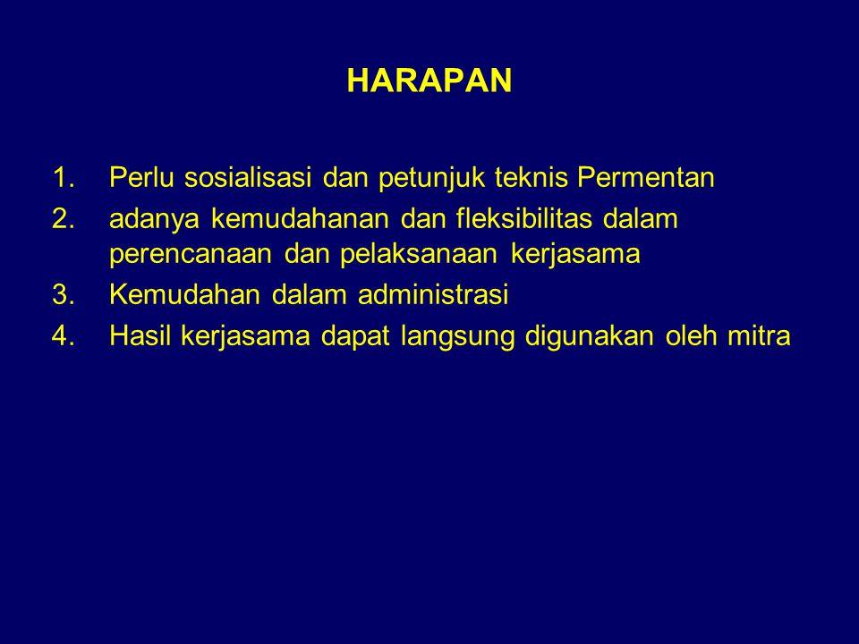 KERJASAMA LUAR NEGERI Meliputi : –Kerjasama Bilateral (G to G) –Kerjasama Regional (ASEAN, APEC) –Kerjasama multilateral (FAO)