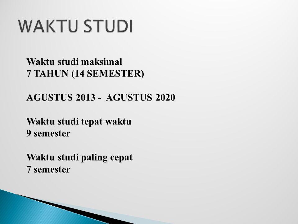 Waktu studi maksimal 7 TAHUN (14 SEMESTER) AGUSTUS 2013 - AGUSTUS 2020 Waktu studi tepat waktu 9 semester Waktu studi paling cepat 7 semester