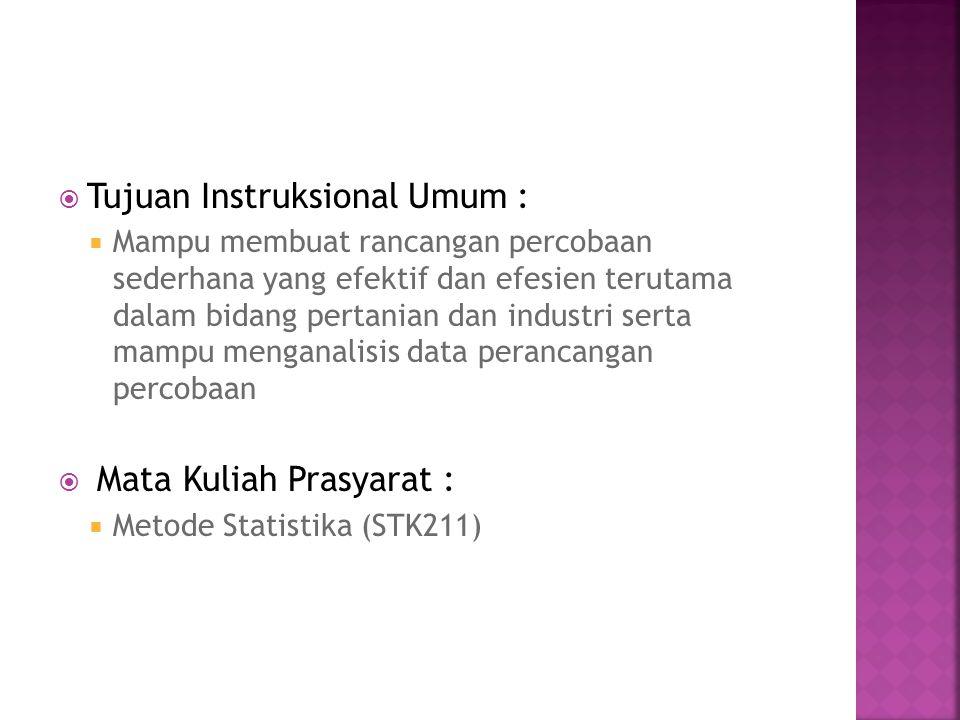 1.Review Statistika Dasar 2. Pengenalan Perancangan Percobaan 3.