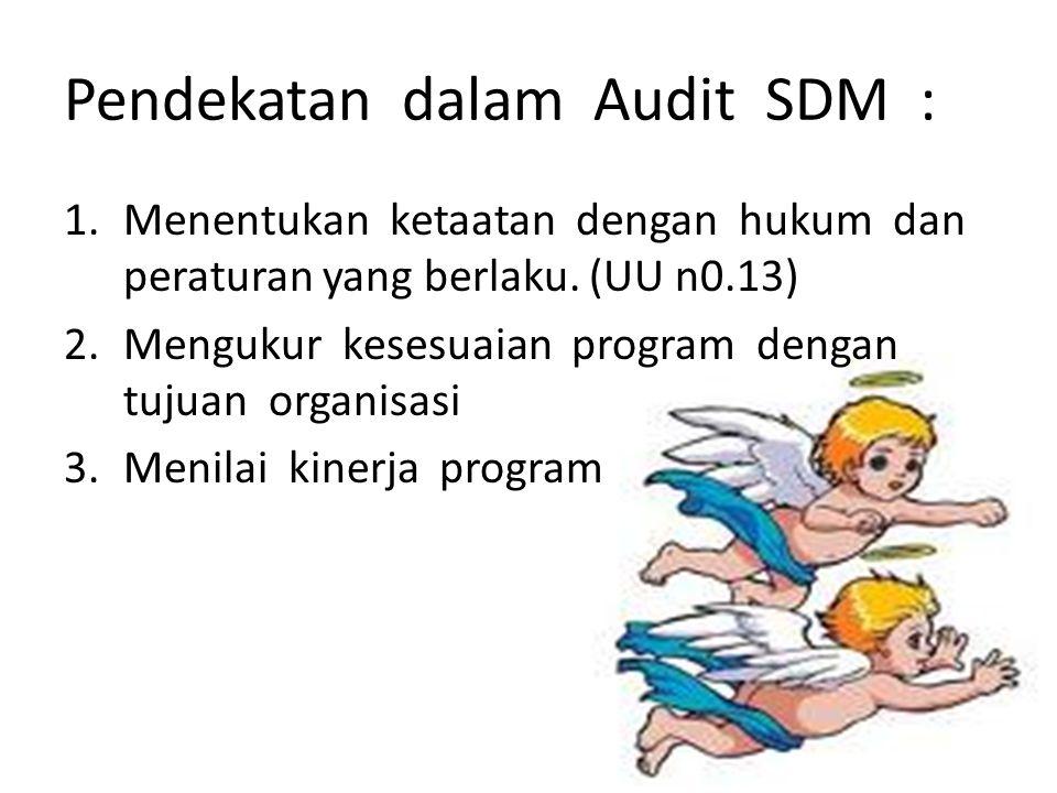 Langkah-langkah audit : 1.Audit pendahuluan 2.Review & pengujian pengendalian manajemen atas program-2 SDM 3.Audit lanjutan 4.Pelaporan 5.Tindak lanjut