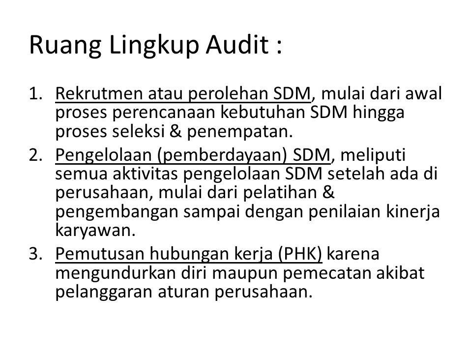 Pengelompokan Ruang Lingkup Audit SDM & Sumber Informasinya Ruang Lingkup AuditSumber Informasi Rekrutmen SDM 1.Perencanaan SDMAnggaran SDM 2.RekrutmenData (catatan) biaya rekrutmen 3.Seleksi & PenempatanUraian & spesifikasi pekerjaan 4.Orientasi & PenempatanTingkat penerimaan karyawan Catatan wawancara karyawan Catatan lamaran yang ditolak Permintaan transfer