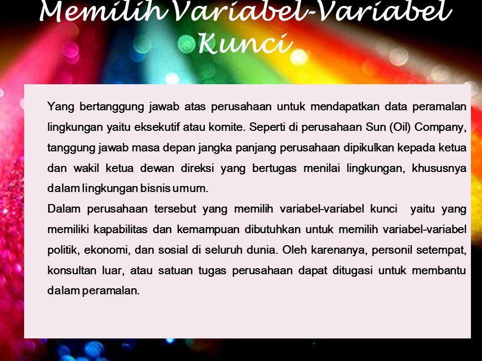 Variabel-Variabel yang Harus Dipilih Daftar penyusunan variabel-variabel yang harus dipilih dalam menentukan mati dn hidup suatu perusahaan : 1.