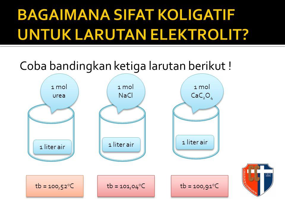 Untuk larutan NaCl maka besarnya kenaikan titik didihnya 2 kali larutan urea, untuk kalsium oksalat 1,75 kali larutan urea.