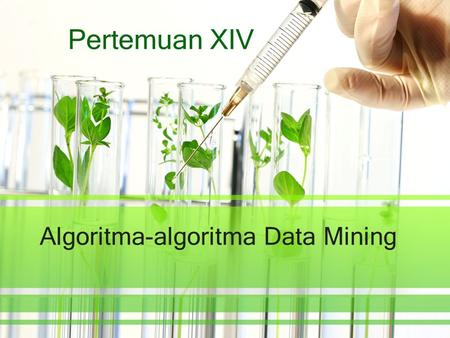 Algoritma-algoritma Data Mining Pertemuan XIV. Classification.