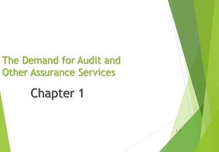 1 - 1 The Demand for Audit and Other Assurance Services Chapter 1.