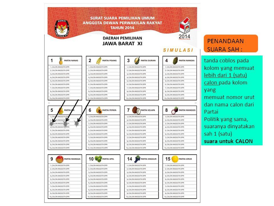 tanda coblos terletak diantara 2 calon pada kolom yang memuat nomor urut dan nama calon dari Partai Politik yang sama, suara untuk Partai Politik PENANDAAN SUARA SAH :