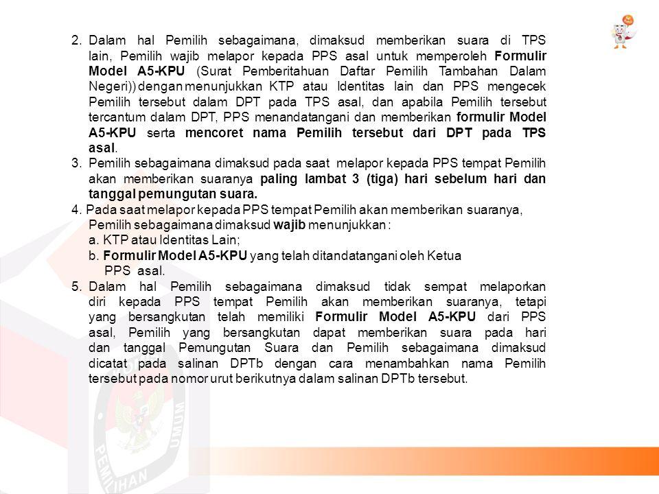 6.Pemilih yang memberikan suara di TPS lain sebagaimana dimaksud tetap diberikan Surat Suara DPR, DPD, DPRD Provinsi dan DPRD Kabupaten/Kota, atau Surat Suara DPR, DPD, DPRA dan DPRK untuk wilayah Provinsi Aceh, atau Surat Suara DPR, DPD, DPRP dan DPRD Kabupaten/Kota untuk wilayah Provinsi Papua, atau Surat Suara DPR, DPD, DPRPB dan DPRD Kabupaten/Kota untuk wilayah Provinsi Papua Barat dan Pemilih sebagaimana dimaksud diberi kesempatan untuk memberikan suara di TPS mulai pukul 07.00 sampai dengan pukul 13.00 waktu setempat.