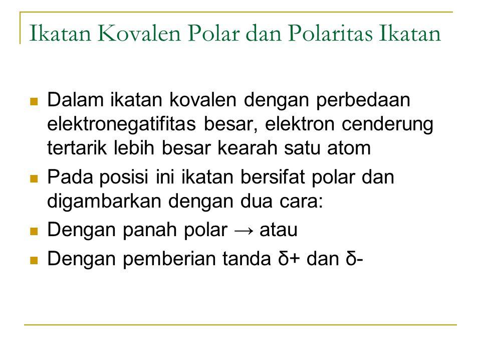 Soal Latihan Tunjukkan polaritas ikatan berikut dengan bantuan panah polar: N – H, F – N, I – Cl Susun berdasarkan urutan kenaikan polaritas beberapa ikatan berikut: H – N, H – O, H – C.