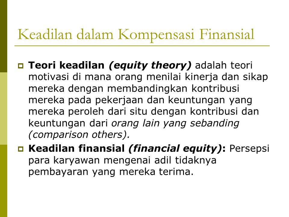 Keadilan dalam Kompensasi Finansial  Keadilan eksternal (external equity): Terwujud ketika para karyawan sebuah perusahaan menerima bayaran yang sebanding dengan para karyawan yang menjalankan jabatan yang serupa di perusahaan-perusahaan lainnya.