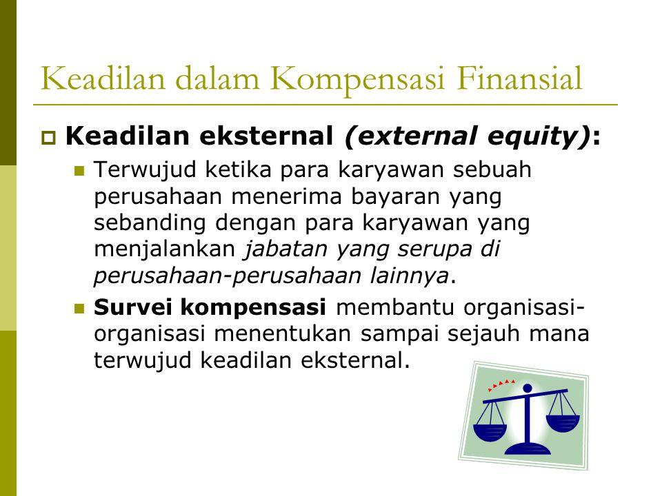 Keadilan dalam Kompensasi Finansial  Keadilan internal (internal equity): Terwujud ketika para karyawan menerima bayaran menurut nilai relatif dari jabatan mereka dalam organisasi yang sama.