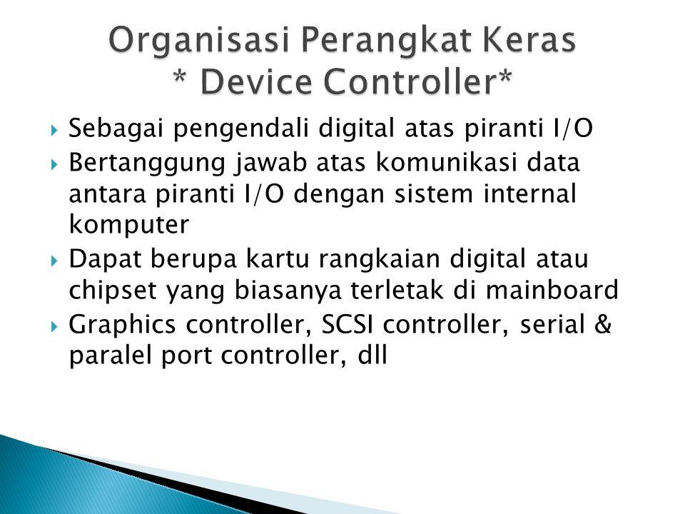  Bus I/O ◦ Terdiri atas bus data, alamat dan kontrol ◦ Berfungsi menghubungkan device controller dengan elemen internal komputer seperti memori dan prosesor.