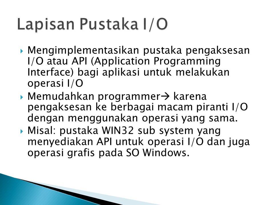  Scheduling ◦ Jika suatu piranti I/O akan digunakan suatu proses  I/O request ◦ Jika sibuk, I/O request akan masuk antrian.