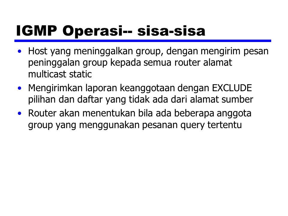 Keanggotaan Group dengan IPv6 IGMP ditetapkan untuk IPv4 —Menggunakan 32-bit alamat Jaringan IPv6 memerlukan kemampuan Kemampuan IGMP bergambung kedalam Internet Control Message Protocol version 6 (ICMPv6) —ICMPv6 termasuk juga sbg fungsi semua fungsional dari pada ICMPv4 dan IGMP ICMPv6 termasuk group keanggotaan query dan kelompok keanggotaan pelaporan pesan —Petunjuk penggunaan nya sama seperti pada IGMP