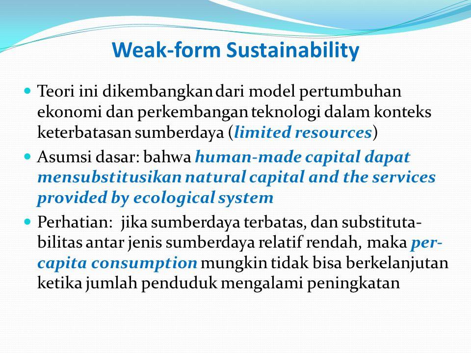 Weak-form Sustainability (2) Menurut Hartwick Rule, untuk mempertahankan constant per-capita consumption over time maka pendapatan saat ini dari hasil eksploitasi sumberdaya harus direinvestasikan pada sumberdaya alam (SDA) dan sumberdaya manusia (SDM) Substitusi kedua sumberdaya tersebut dapat mendapatkan justifikasi-nya manakala peningkatan produktivitas pada SDM lebih tinggi dibandingkan hilangnya/menurunnnya kapasitas produksi SDA