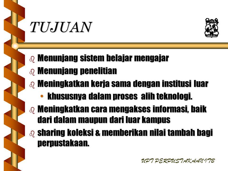 SASARAN b Jasa informasi pendukung kegiatan ITB.b Promosi Jasa & Sarana Perpustakaan.