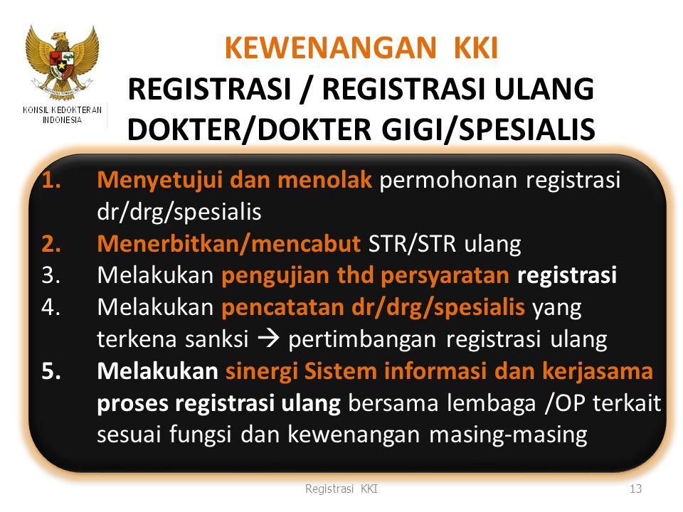 Mengapa perlu sinergisme Sistem Informasi Registrasi (manual /online?) Lulusan dokter dan dokter gigi semakin banyak Banyak prosedur dan pemangku kepentingan yang terlibat Tahun 2011 merupakan puncak registrasi ulang Sebaran yang luas tenaga medis di seluruh Indonesia MRA tenaga medis ASEAN Efektivitas dan efisiensi Registrasi KKI14 7/12/2010 LD