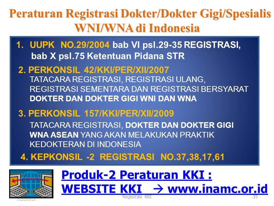 KONSIL KEDOKTERAN INDONESIA KOORDINASI Peraturan Registrasi dokter/dokter gigi/spesialis WNA di Indonesia