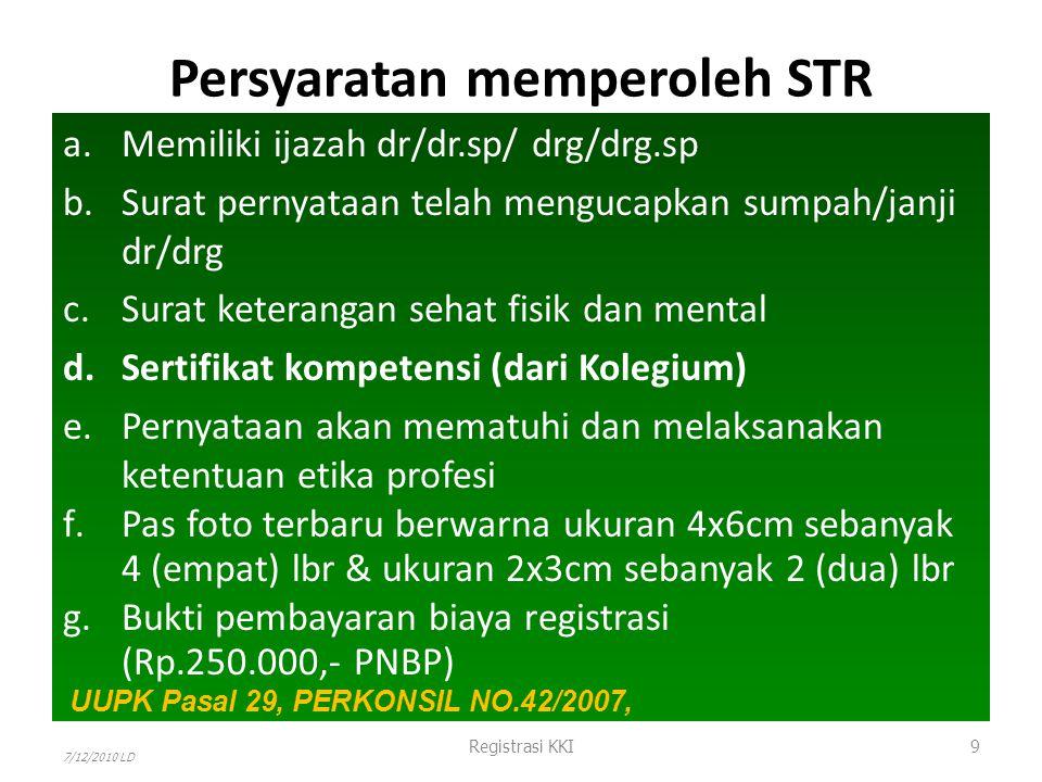 Dokter / Dokter Gigi LULUS STR (KKI) SIP (Dinkes) Rekomendasi IDI/PDGI Praktik (3 tempat) Sanksi -Cabut STR -Reschooling