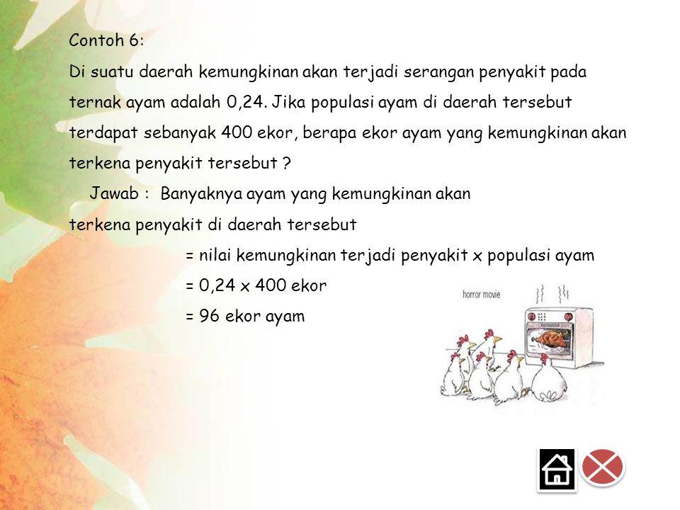 Contoh 6: Di suatu daerah kemungkinan akan terjadi serangan penyakit pada ternak ayam adalah 0,24.