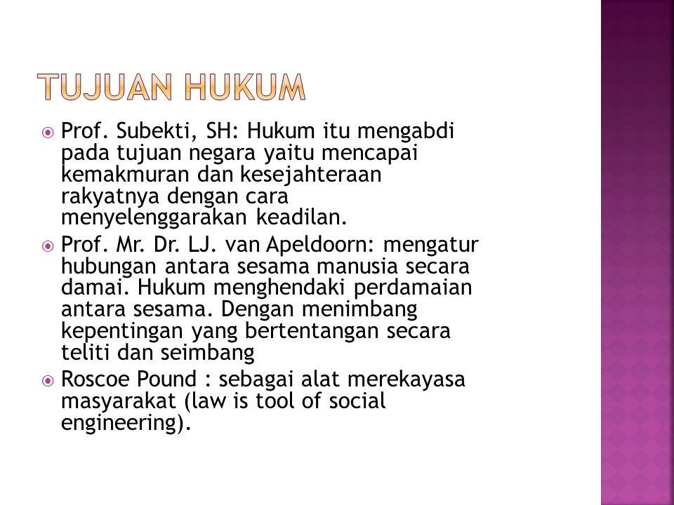  M.Kusumaatmadja tujuan pokok dan utama dari hukum adalah ketertiban.
