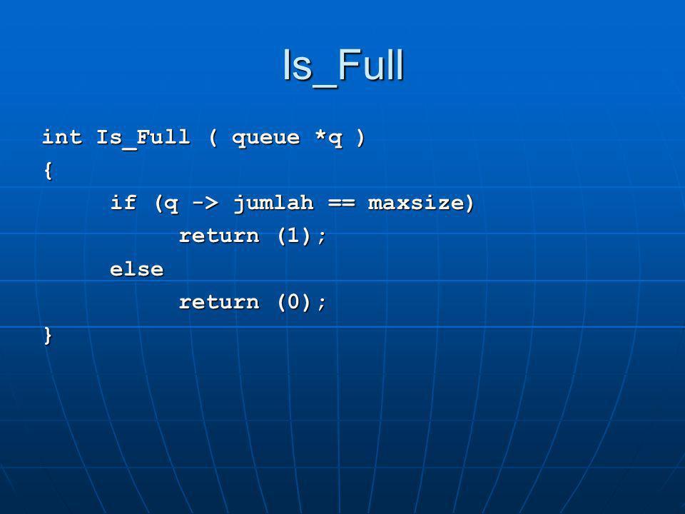 Enqueue void enqueue ( char X, queue *q ) { if ( Is_Full(q) ) printf( \nERROR: queue sudah penuh\ ); else{ q->data[q->belakang] = X; q->belakang = (q->belakang+1)%maxsize; ++(q->count);}}