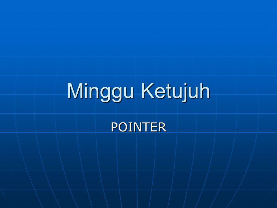 POINTER Adalah TIPE DATA TURUNAN Adalah TIPE DATA TURUNAN Contoh deklarasi : int *pointerX; Contoh deklarasi : int *pointerX; Variabel bertipe pointer digunakan untuk menyimpan ALAMAT sebuah data, BUKAN NILAI datanya.