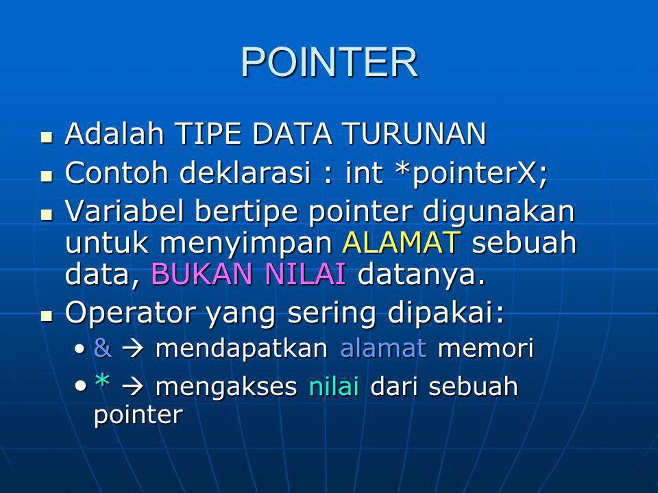 #include stdio.h void main() { int data, *pointer_data; data = 100; pointer_data = &data; printf( Data = %d di alamat %p\n , data, pointer_data); }